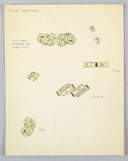 On a single sheet of paper: 7 yellow and red drawings of tape measures in various configurations (e.g. coiled, folded, extended).