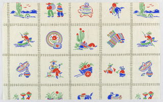 A framework of train track pattern. Within each square, a motif rendered in red, green and blue: a saguaro cactus in landscape, walking men with  hats, a ceramic  javelina, a figure on a donkey, a figure in a boat, floral dishes, a figure sleeping under a saguaro, a patterned textile, A hat with pottery, a musician, a wheelbarrow with flowers, a cockfight.