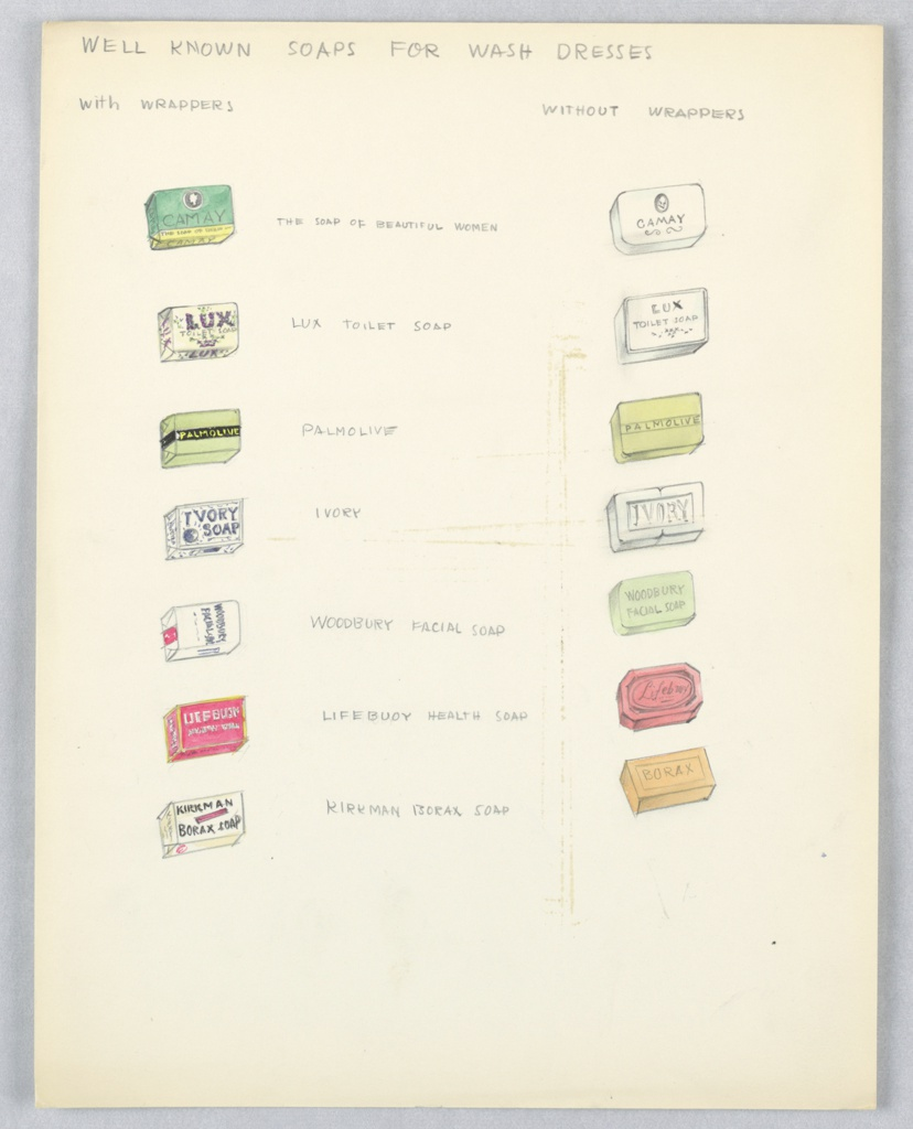 On single sheet of paper: 14 color drawings of soap bars of well-known brands (e.g. Camay, Lux, Palmolive, Ivory,etc.) -- at left side, each soap is packaged in its wrapper; at right side, soap bar is shown without wrapper.