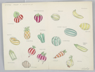 On single sheet of illustration board, folded in half: 17 drawings of striped fruits and vegetables (e.g. cherries, strawberries, melon, banana, squash, pineapple, water melon, cabbages, carrot, radishes, etc.).