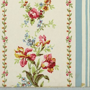 Vertical rectangle. Floral designs in four vertical bands, alternatively broad and narrow, separated by light blue stripes. Printed in colors on white ground.
