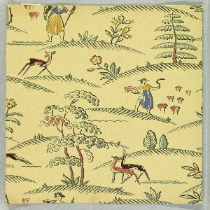 Rural scene containing stylized illustrations, including a woman with scythe cutting grain, several deer, and a variety of trees  on little hilly plateaus. Printed in colors on a light yellow ground.