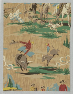 Rodeo or western scene of cowboys riding bulls, others on horseback traveling with dog. Printed on a woodgrain ground. Would be appropriate for children's room or family room.