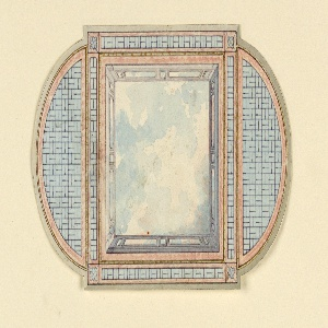 Horizontal rectangle. Design for the Royal Pavilion, Brighton. Design for a ceiling divided into three compartments; a square and two half-oval sections. The square contains a painted representation of a clouded sky, surrounded by a balustrade, and a wide border of bamboo motifs. The oval sections have bamboo arranged in trellis-work patterns.  Original album associated with this collection still exists.  See 1948-40-1 accessory