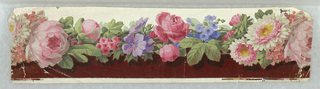 Maroon flock band set off from white ground and by cabel of roses, pink, blue and lavender flowers.