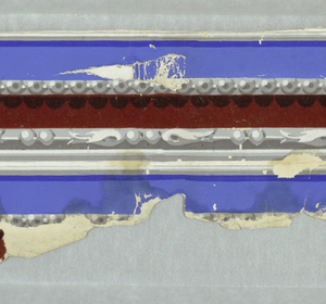 Simulated architectural molding, with bead and bead-and-leaf moldings. Printed in white, grey and blue with red flock.