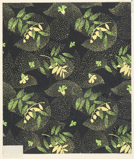 Design for printed fabric.  Green and creamy yellow on black poster with leaves in alternating directions.