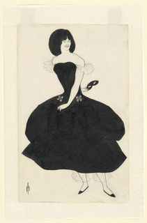 """Full-length figure of a woman with short black hair, wearing a black dress, turned to the right. Her right arm is stretched behind her back, and she holds a domino mask in her right hand. This figure was incorporated with others in a composition, """"Comedy-Ballet of Marionettes, III"""" from The Yellow Book, Vol. II."""