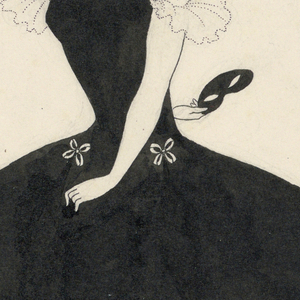 "Full-length figure of a woman with short black hair, wearing a black dress, turned to the right. Her right arm is stretched behind her back, and she holds a domino mask in her right hand. This figure was incorporated with others in a composition, ""Comedy-Ballet of Marionettes, III"" from The Yellow Book, Vol. II."