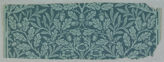 The motif is composed of acorns and oak leaves with a vine and flower interspersed. Printed in light blue design on dark blue field.