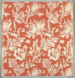 """""""Horn Poppy"""" pattern; sixteen samples printed in red on white. Sample number stamped on verso: 134790."""