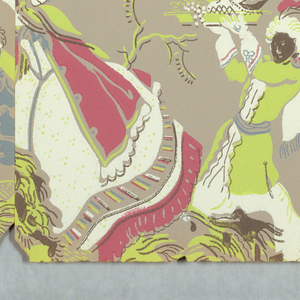 Three figures in costume under a tree. This scene alternates with a much smaller basket of fruit. a) Printed in blue, pink, white and chartreuse on taupe ground; b) printed in green, gray, ocher and white on light gray ground; c) printed in red, white, pink and blue on light blue ground.