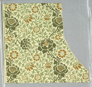 Vertical serpentine vines with flowers and underlay of foliage arabesque. Foliage and flowers printed in greens and brown on white ground.