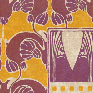 Close-up of abstract owl in purple in text box, center right: TAPETE / ASTARTA.  Abstract floral design in purple and maroon with orange between. Verso:  Title of portfolio in gray in box upper left.  Pattern of abstract flowers? and berries in gray on cream.
