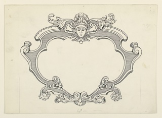 Scroll work, with leaves above and below. Face and helmet, above, center.