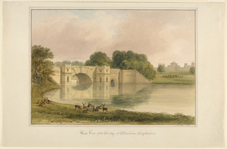 View of the lake and bridge at left with the castle in the distance at right. A herd of deer is shown in the foreground.