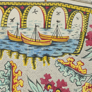 Design of floral forms enclosing scene showing a bridge across river with boats and buildings at left. Background is stippled (picotage).