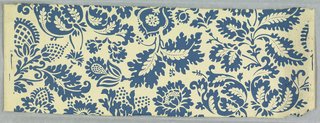 This design gives the effect of being stencilled. A stylized design of pineapples and pomegranates. Printed in blue design on ivory field.