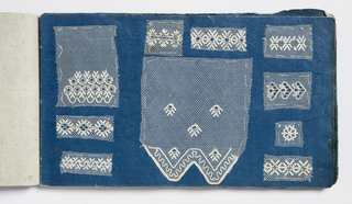 Small sample book with twenty-one dark blue pages filled with small swatches of various patterns of embroidered net.