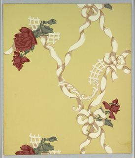 Two major motifs, brownish pink roses with brownish green leaves, spaced at wide intervals and in random arrangement. The rose motifs are connected by twisted white ribbons and rococo scroll and lattice work. Printed on a pale lemon ground.