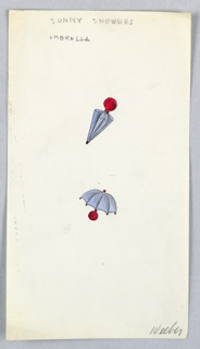 2 drawings on a single sheet of paper: two purple (with red handle) umbrellas, one open and one closed.