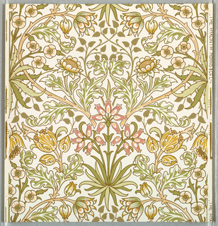 Symmetrical pattern with many different types of flowers radiating from a central flower. Printed in green, mustard and peach on white ground.