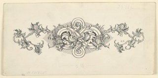 A symmetrical design consisting of an interlacing scroll motif at the center, flanked by vines.