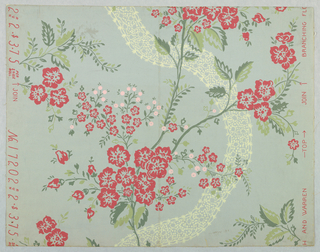 Design of flowering stem deep pink flowers, light pink fruit and leaves in two shades of green with serpentine ribbon of cream color. Printed on pale blue ground.