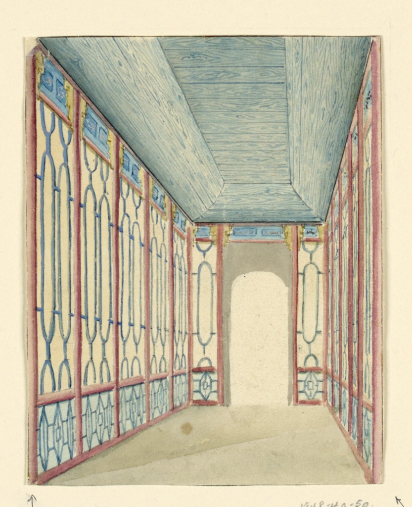 Perspective view of a narrow passageway, with an opening at the far end. The decoration of the wall consists of a painted design of columns, with lattice work patterns between them.