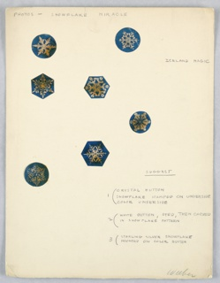 On wove paper: 7 color drawings of  snowflake crystal patterns, with pencilled annotations.