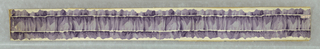 Single band of crumpled ribbon, printed in monochrome color, with narrow band of white running near either edge of ribbon.