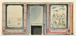 Drawing, Design for a Chimneypiece, Wall with Chinoiserie Landscape, possibly for Library, Royal Pavilion, Brighton