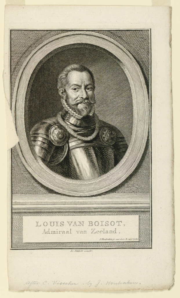 Half-length portrait in frontal view. Body slightly turned to right. The sitter in his armor. Engraving is after work by Cornelis Visscher, whose work is after Pieter Soutmann.
