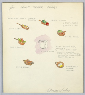 7 color drawings on a single illustration board: pan (with bacon and eggs), salad bowl, pot with peas and carrots, bread basket,  pitcher, etc, with pencilled annotations.