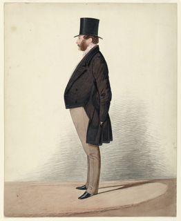 Vertical rectangle. A portly man wearing face whiskers is seen full-length standing in left profile, his left had thrust behind his coat tails.