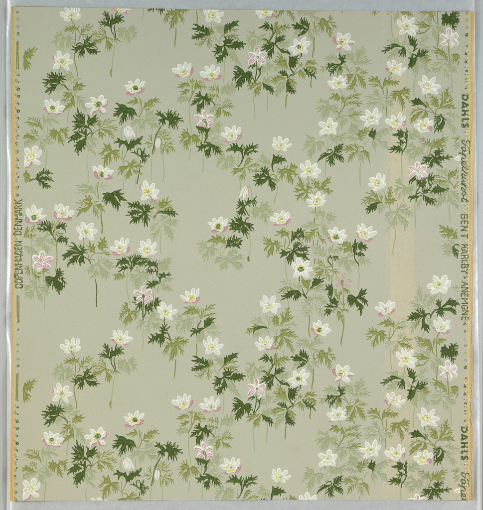 """White and pink wild anemones, with leaves and stems in three shades of green, on gray ground. Printed on left selvedge: """"Copenhagen Denmark"""", on right: """"Dahls Tapetkunst Bent Karlby>Anemone<."""