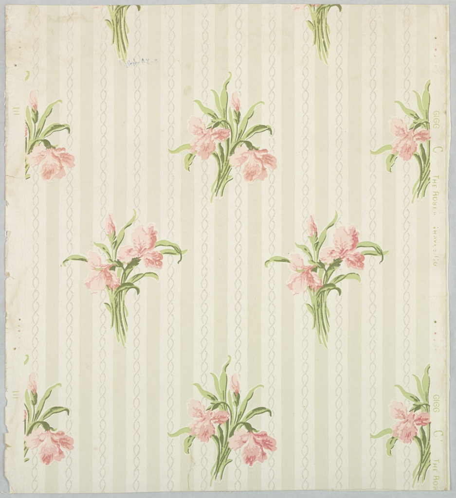 """Iris design in clusters of two blossoms and one bud in rose with green leaves. These clusters alternate in parallel rows. The background consists of gray and ivory stripes. Running through the ivory stripe are two inter- facing wavy lines in frosted work. Printed in green, pink, and gray on ivory field. Printed in margin: """"Robert Graves Co. -6166 C""""."""