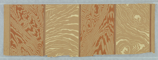 Full width, with alternating stripes of simulated wood graining in cream and brown, printed in cream and brown on unbleached brownish paper.