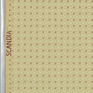 "Thin white wavy lines, horizontal and vertical, crossing each other to form all-over pattern of connected swasticas, with brown dots grouped by four between them. Greenish tan ground. Repeat: 363 mm. On left selvedge: ""Albert Krause"", on right: ""Scandia""."
