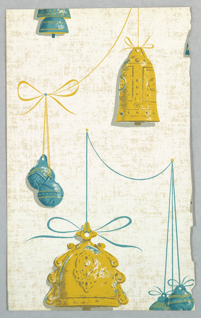 Bells of varying shapes and sizes suspended from cord and affixed with bow knots. Printed in ocher and blue on off-white ground.