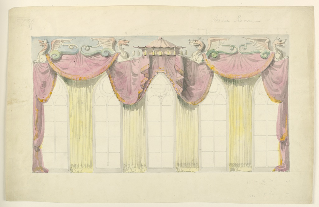 Elevation of the east wall, showing a design for the decoration of the five windows which comprise this wall. Festooned drapery is upheld by a cornice made up mainly of winged dragons. Fluted curtains are hung in front of the piers between the windows.  Original album associated with this collection still exists.  See 1948-40-1 accessory.