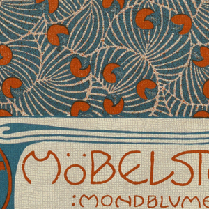 Abstract pattern of shell, leaf, bean-shaped motifs in turquoise and orange-red. Lower center, box with text in orange-red and turquoise: MöBELSToF / MONDBLUME / MEAUQUETTES / WEBEREI; organic shapes in orange-red and turquoise on either side of text. Verso: Title of portfolio in text block in gray at upper left.  In horizontal rows, double crocus pattern alternating with single crocus in gray on cream.