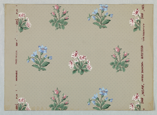 Horizontal rows of violet, daisy and rose clusters in natural colors. The arrangement is staggered above and below. Close repeat. Printed on gray ground with picotage.