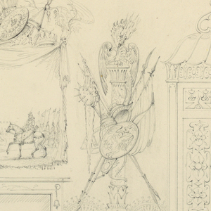 Drawing, Proposed Design for the South Wall of the Entrance Hall, Royal Pavilion, Brighton