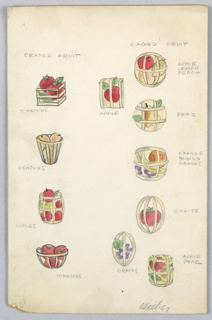 On single illustration board: 11 images (on left side, vertical row of  4 crated fruits, e.g. tomatoes, peaches, apples; on right side, 7 drawings of caged fruits, e.g. apple, pear, grapes).
