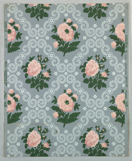 "The design is composed of diagonal rows of diamond-shaped medallions with floral borders simulating lace work. The centers of medallions contain alternating motifs of sprays of roses, arranged in two different designs. Printed on margin: ""Imperial Washable Wallpaper. Run 16, Union Made. Made in U.S.A. Color - Locked and Guaranteed. #2530. U.S. Patent No. 1950279."" Printed in pink, green and white on gray field."