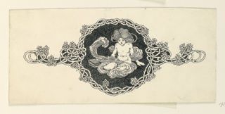 A symmetrical design, composed of an almost nude figure of a boy, seated, center, enclosed in a frame of interlacing vines. Shown against a black-and-white speckled background.