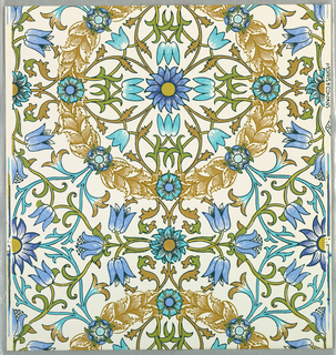 """""""The Wreath"""" pattern, four samples, printed in blues and browns on white. Sample number stamped on verso: 138610."""