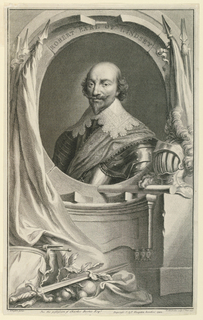 In an oval stone enframement, surrounded by instruments of warfare, is a bust length portrait of Robert Bertie, First Earl of Lindsey (1572-1642).