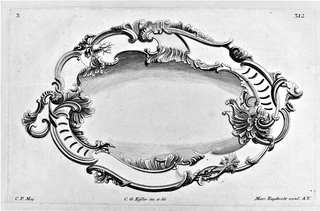 Design for rocaille silver, serving dish.  Asymmetric in form with two, twisting handles.  Ornamented with root vegetables set in looping, lettuce and shell-like border.